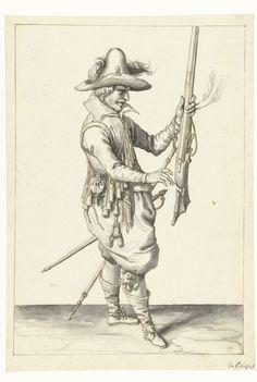 Soldaat die zijn musket met zijn linkerhand rechtop vasthoudt, Jacob de Gheyn (II), 1596 - 1606