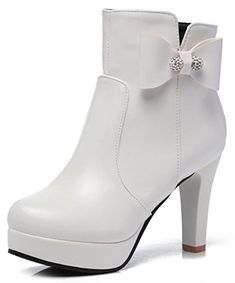 b140216c9978 IDIFU Womens Fashion Bows Zip Up Pointed Toe High Chunky Heel Short Ankle  High Boots White 9 BM US --    AMAZON BEST BUY