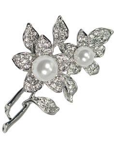 Faux Pearl Flower Rhinestone Brooch Pin - Silver