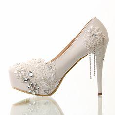 Tassel single shoes women pumps white lace flower non-slip high-heeled shoes platform  wedding shoes free shipping