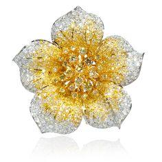 Diamond 18k Two Tone Gold Flower Brooch - Pretty, sparkles!