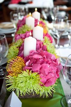 Modern Green Pink Yellow Centerpiece Spring Summer Wedding Flowers...different candles though... - for more amazing wedding ideas, tools and tips visit us at Bride's Book