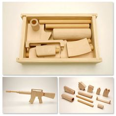 My son would like this. HOLLIS PARK : Dept. of WreckCreations | 11 piece wooden toy gun