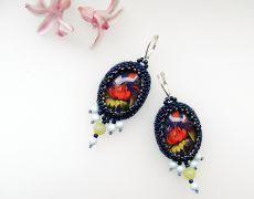 Cercei unicat cu motive florale etnice rusesti Drop Earrings, Floral, Handmade, Jewelry, Hand Made, Jewlery, Bijoux, Florals, Jewerly
