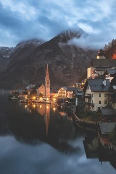 Village of Dreams (Elia Locardi) | A beautiful twilight in the enchanting mountain village of Hallstatt, the pearl of Austria...