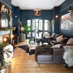 43 Cozy And Relaxing Living Room Design Ideas. Living room is a fundamental part of the house where we gather with our family. In that room we can […] Dark Living Rooms, Living Etc, Living Room Modern, My Living Room, Living Room Interior, Living Room Designs, Blue And Copper Living Room, Copper Decor Living Room, Small Living