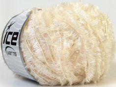 shimmering metallic lurex white light cream eyelash type yarn 1 skein polyester ice yarns crystal beautiful knitting fashion by turkishmarket, $3.50