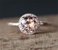Prongs Promise Ring VS 7mm Round Cut Morganite Ring Plain Ring