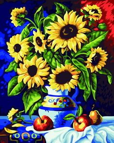 Frameless Digital oil painting lovers wedding gifts 40 50 sunflower painting by numbers kits unique gift home decor(China (Mainland))