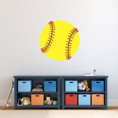 This printed softball wall decal is great for a kid's room, man cave, or any sports room. This bright yellow softball is ideal for the softball lover! Sports Wall Decals, Vinyl Wall Stickers, Fall Mantel Decorations, Fall Decor, Decorating On A Dime, Old Room, Wall Spaces, Home Staging, Softball