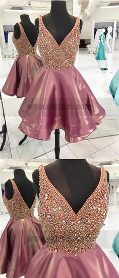 Backless V Neck Heavily Beaded Dusty Pink Homecoming Dresses, TYP0823 #homecomingdresses #homecoming