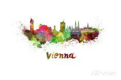 Vienna Skyline in Watercolor - Affischer av paulrommer på AllPosters.se