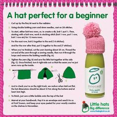 For this year's  we need 1 million hats to raise … – Knitting patterns, knitting designs, knitting for beginners. Easy Knitting Patterns, Knitting Designs, Knitting Projects, Simple Knitting, Knitting Ideas, Crochet Patterns, Wooly Hats, Knitted Hats, Innocent Drinks