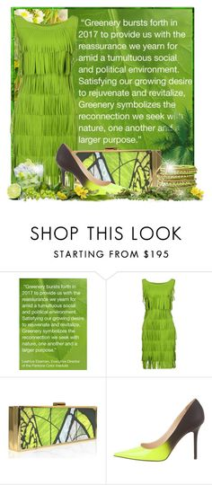 """""""Greenery - Pantone's color of the year 2017 - a fresh new start"""" by doozer ❤ liked on Polyvore featuring La Petite Robe di Chiara Boni, Jimmy Choo and Cara Accessories"""