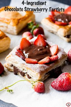 4-Ingredient Chocolate Strawberry Tartlets are ready just in 30 minutes! These are perfect for any occasions! Get admired with little work! | giverecipe.com