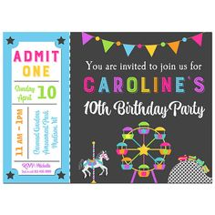 Amut Park Ticket Invitation Printable Or By Thatparty Sizes Party Invitations