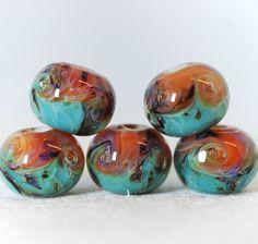 Lampwork boro bead set 5 borosilicate glass beads by Juliyamrboro, $15.00