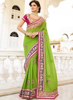 Green Embroidery Patch Work Lace Border Raw Silk Party Wear Designer Sarees http://www.angelnx.com/Sarees/Wedding-Sarees