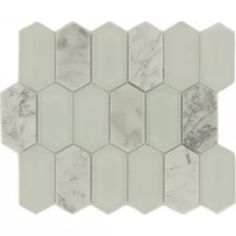 Carrara Hexagon White Glossy & Frosted Glass & Stone Tile