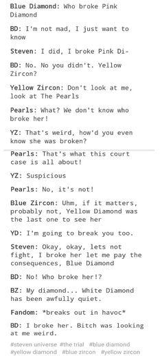 WHO BROKE HER?? Blue-Diamond yellow diamond white diamond Zircon Steven the trial