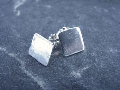 Items similar to Small Square Silver Stud Earrings on Etsy Cufflinks, Stud Earrings, Etsy, Accessories, Earrings, Stud Earring
