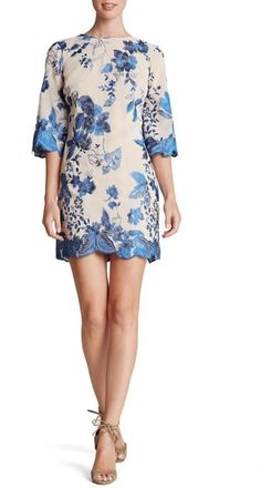 Dress the Population 'Paige' Metallic Embroidered Chiffon Shift Dress