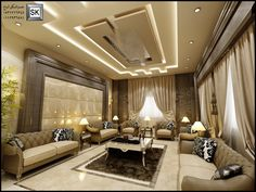 Embedded Drawing Room Ceiling Design, House Ceiling Design, Ceiling Design Living Room, Bedroom False Ceiling Design, False Ceiling Living Room, Home Room Design, Living Room Designs, Decoration Hall, Living Room Modern