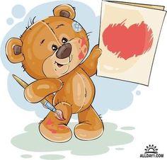 Vector Bears Collection #10 - 25 Ai Мишки Cartoon Elephant, Bear Cartoon, Cute Cartoon, Brown Teddy Bear, Cute Teddy Bears, Bear Face Drawing, Urso Bear, Watercolor Card, Animal Nail Designs