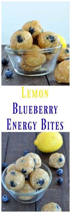 Just a handful of simple ingredients to make these Lemon Blueberry Energy Bites. Just a handful of simple ingredients to make these Lemon Blueberry Energy Bites. No baking required. Perfect to fuel your day. Energy Snacks, Energy Bites, Protein Snacks, Vegan Snacks, Protein Bars, Paleo Vegan, Whole Food Recipes, Snack Recipes, Cooking Recipes
