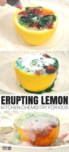 Great science is as simple as walking into the kitchen with this erupting lemon chemistry experiment! We enjoy all kinds of simple science and STEM using common household ingredients. This fun science activity can even be taken outside for easy clean up. Chemistry Experiments For Kids, Science Activities For Kids, Teaching Science, Science Chemistry, Kid Science Experiments, Science Education, Simple Science Fair Projects, Science Experiments For Toddlers, Volcano Activities