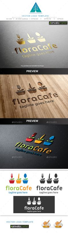 Flora Cafe Logo — Vector EPS #gastronomy #flower • Available here → https://graphicriver.net/item/flora-cafe-logo/9678039?ref=pxcr