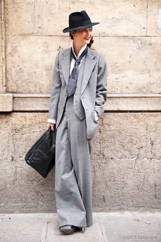 Peony Lim, after the Costume National show in Paris is wearing: VIntage YSL suit, Prada shirt, Vintage hat. Photographed by Candice Lake. Vintage Ysl, Vintage Fashion, Suits For Women, Mens Suits, Groom Suits, Groom Attire, Uk Street Style, Street Chic, Street Wear