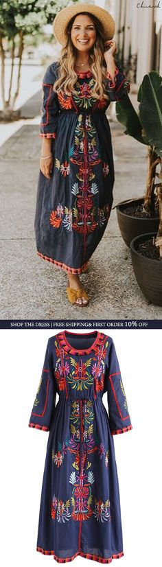 Shop www.chicwish.com and get up to 30% off. Free Shipping & Easy Return Joyful Boho Embroidered Maxi Dress in Navy featured by dashing_darlin