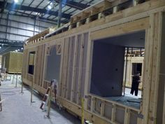 In the framing and walls stage at the factory.