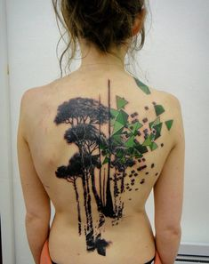 unique artwork for back tattoo | tree tattoo with geometric shapes