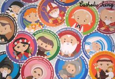 happy saints pictures with names and quotes- these are cute printable cupcake toppers to celebrate all saints day