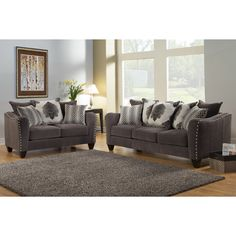 Furniture Of America Philippe 2 Piece Contemporary Chenille Fabric  Upholstered Sofa And Loveseat Set By Furniture Of America