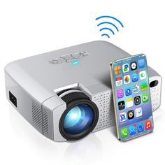 Mini Projector Video Beamer Home Cinema Support HD Wireless iPhone/Android Phone Portable Projector, Phone Projector, Cinema Projector, Liquid Crystal Display, Projection Screen, Home Theater Projectors, Built In Speakers, Home Cinemas, Led Projector