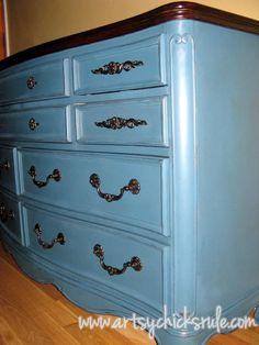 Annie Sloan Chalk Paint Dresser Re-Do / Aubusson Blue / artsychicksrule.com #aubussonblue #chalkpaint