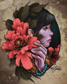 Neo Tattoo, Tattoo Motive, Tattoo Drawings, Art Drawings, Tattoo Flash, Tattoo Ink, Japanese Tattoo Art, Japanese Art, Flor Oriental Tattoo