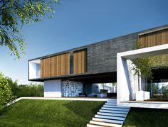 Infografia 3d vivienda de lujo desde el jardín