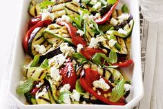 Serve this hearty salad with crusty bread for a light Saturday lunch. berenjena zucchini y chile rojo lo pongo asar con aceiteoliva y comino sal y pimienta, .goatcheese, mint, pinenuts aceiteoliva y sherry vinegar Eggplant Zucchini, Healthy Eggplant, Eggplant Salad, Zucchini Salad, Recipe Zucchini, Grilled Eggplant, Primal Recipes, Vegetarian Recipes, Cooking Recipes