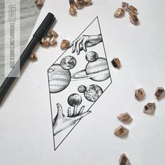 Space galaxy astronomy dotwork tattoo design