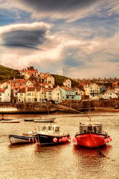 Fishing boats in Staithes, North Yorkshire, England. Yorkshire England, Yorkshire Dales, North Yorkshire, Seaside Village, North East England, Beautiful Places In The World, Grand Tour, Fishing Boats, Adventure Travel