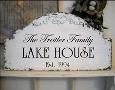 Lake Home Signs | FAMILY LAKE HOUSE Shabby Cottage Beach Cabin by thebackporchshoppe, $ ...
