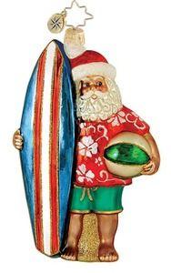 Christmas - Hawaiian Style - Radko Surfer Santa Glass Ornament