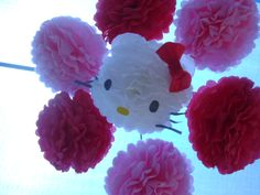 Hello Kitty Pom Pom party Mobile. Attached to 3 bamboo sticks. 3 Red Pom poms an 3 Pink pom poms. 1 white pompom for Hello kitty.  I used black construction paper for her eyes, yellow for her nose, red tissue for her bow and coffee filters for her ears.