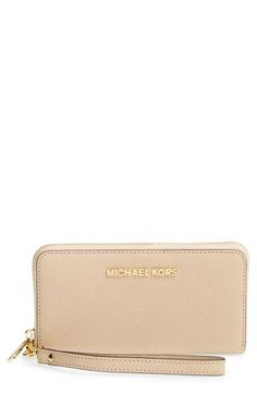MICHAEL+Michael+Kors+'Large+Jet+Set'+Saffiano+Leather+Phone+Wristlet+available+at+#Nordstrom