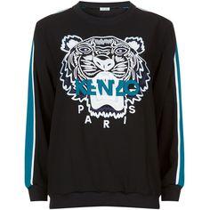 Kenzo Stripe Sleeve Tiger Motif Sweatshirt (3.065 DKK) ❤ liked on Polyvore featuring tops, hoodies, sweatshirts, leather sleeve sweatshirt, striped sweatshirt, sports tops, sport sweatshirts and color-block sweatshirt