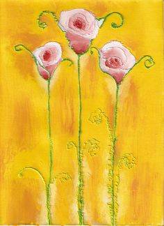 Retro roses.  Acrylic paint and medium builder